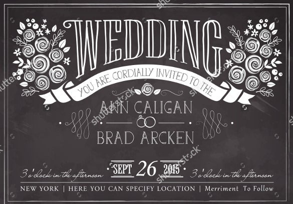 chalkboard theme wedding invitation template for download