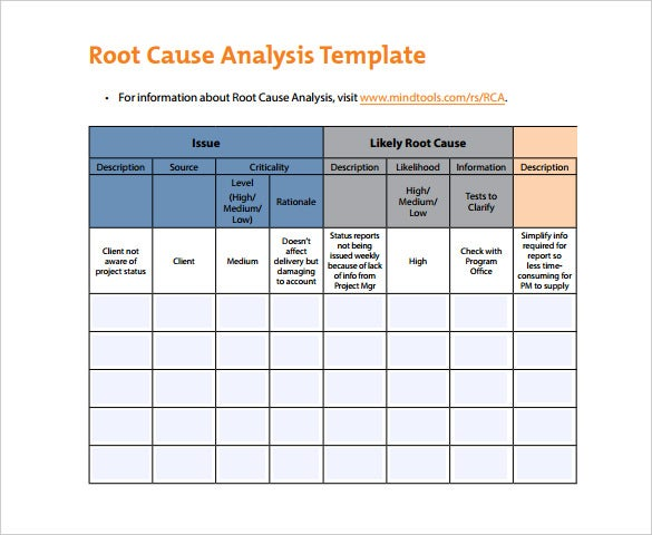 Root Cause Analysis Template   Free Word Excel Pdf Documents
