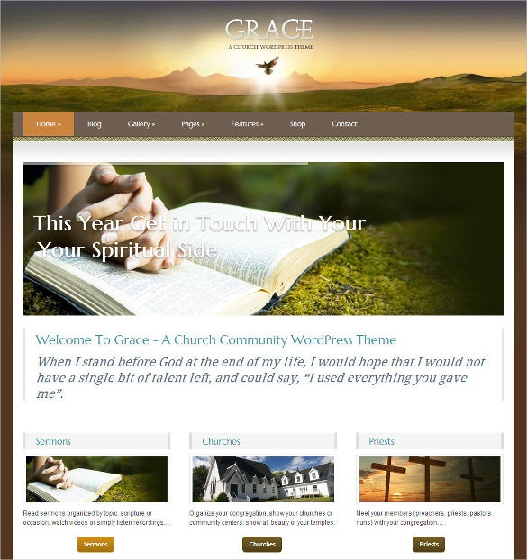 responsive church wordpress theme