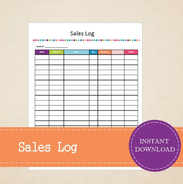 printable and editable sales tracker template download
