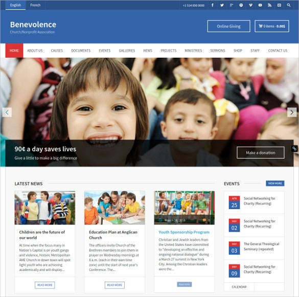 church nonprofit wordpress template