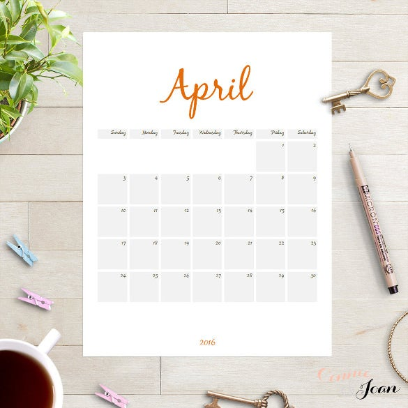 2016 Planner Calendar Template Edit In Word  Calendar Template For Word