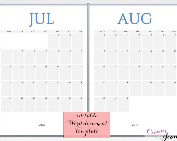 Word Calendar Templates Free Download  Free  Premium Templates