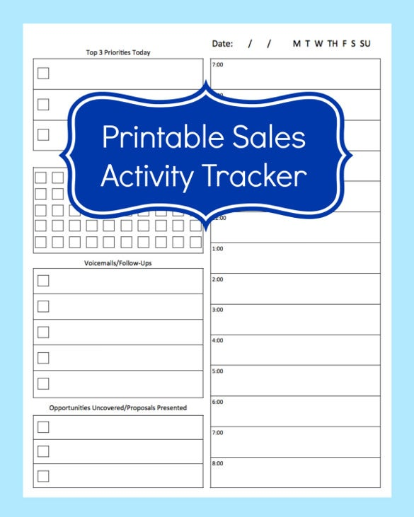 sales activity tracker daily planner template