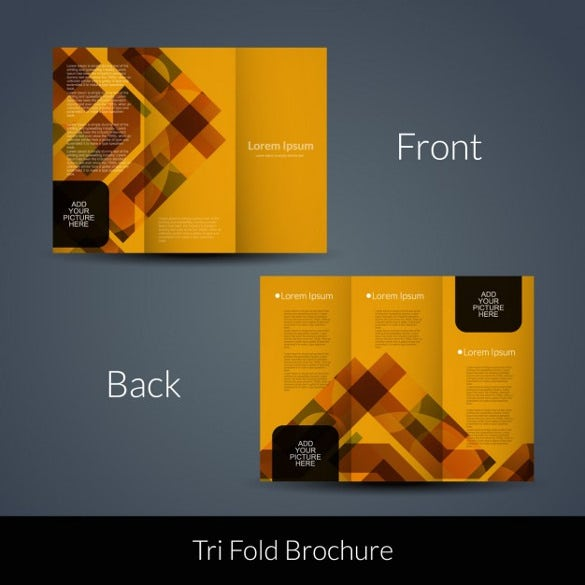 orange geometric tri fold template free vector