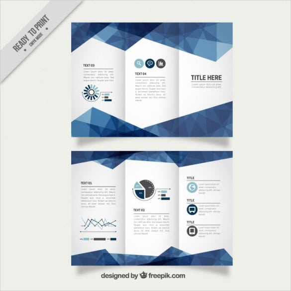 geometric blue business trifold free vector download