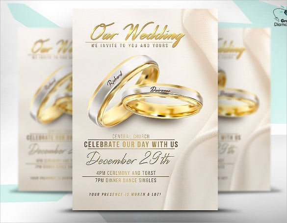 wedding flyer template with rings