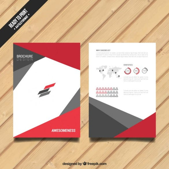 brochure with red and grey elements free vector download