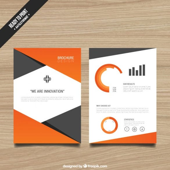 Brochure Template With Orange Elements Free Vector Download