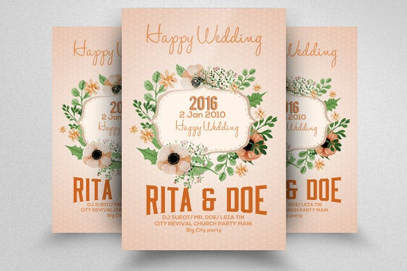 floral design wedding flyer template for download