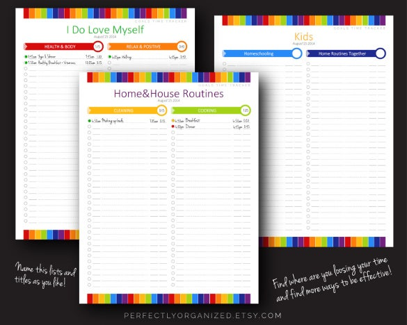 daily everyday time tracker planner template download