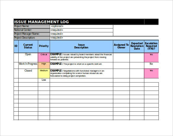 9 issue tracking templates free sample example format for Project management issues log template