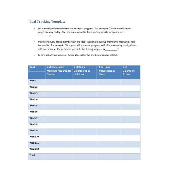 goal tracking template free pdf format download