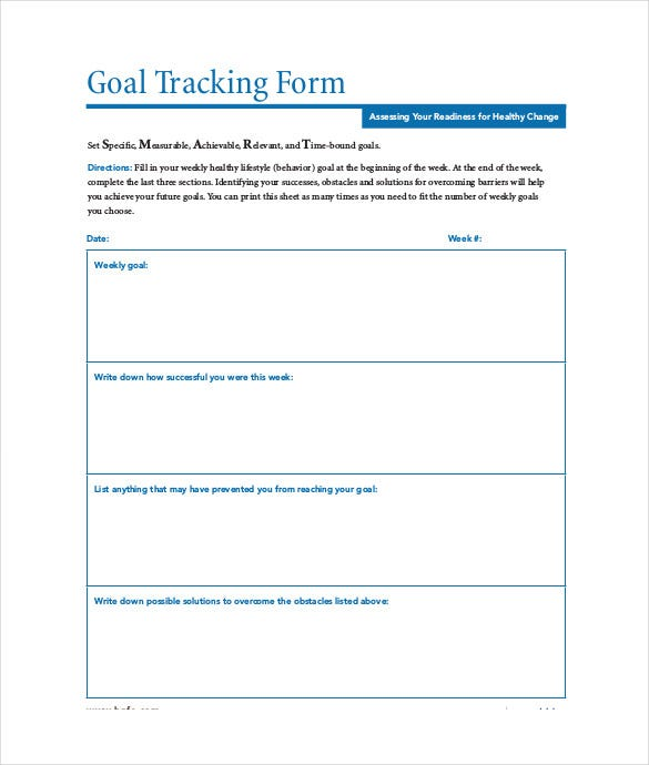 Goal Tracking Templates  Free Sample Example Format Download