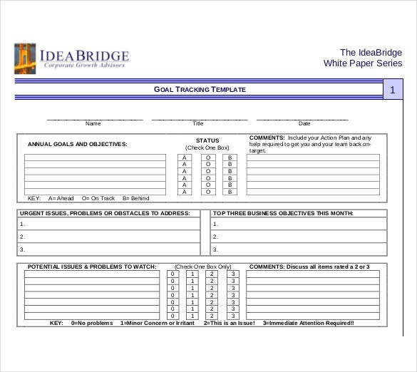 10+ Goal Tracking Templates – Free Sample, Example Format Download