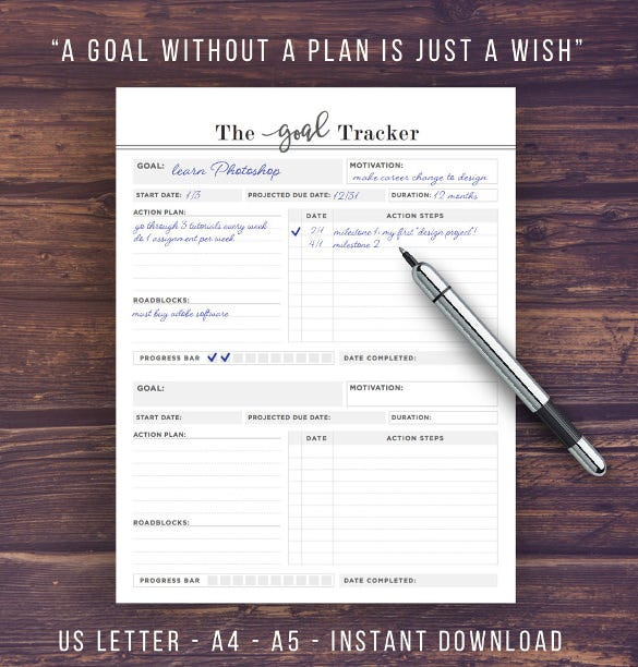 printable goal tracker template