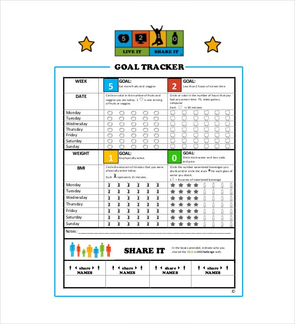 10 Goal Tracking Templates Free Word Excel PDF Documents – Sample Goal Tracking