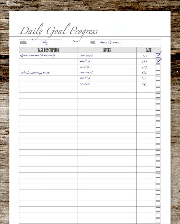daily goal tracker template download
