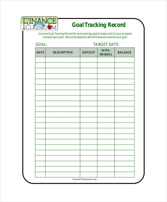goal tracking record free pdf format download