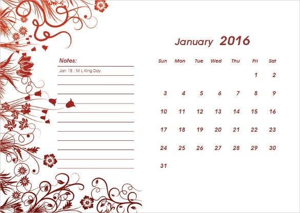 2016 calendar template for microsoft word download1