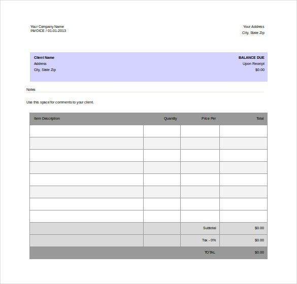 free download company invoice word format template