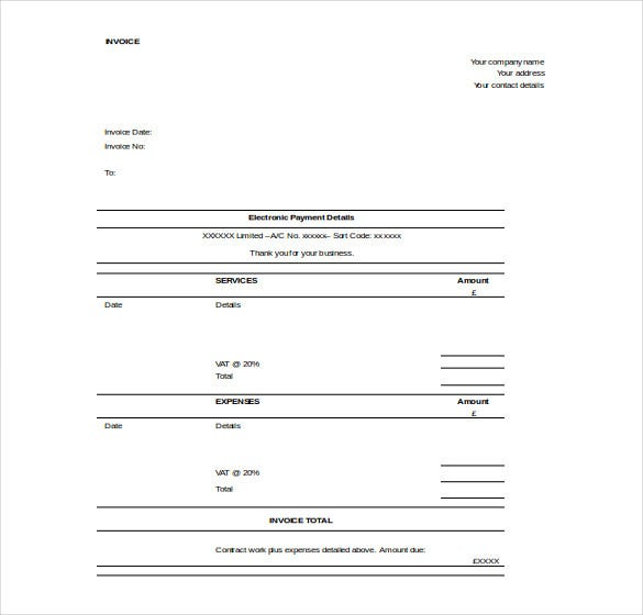contractor invoice template free word download