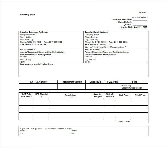 supplier invoice template free word format