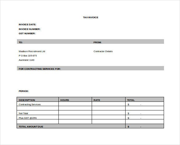 service contract invoice template free word