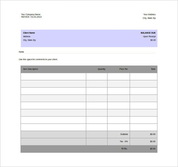 Blank Invoice Free Word Format Template  Invoice For Free