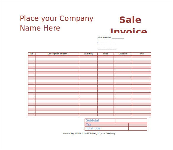 sales inovice template word format free download