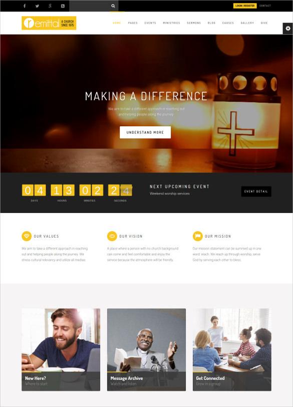 responsive non profit religious wordpress theme