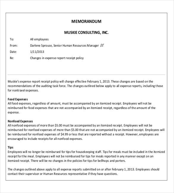 business memorandum example june 2014