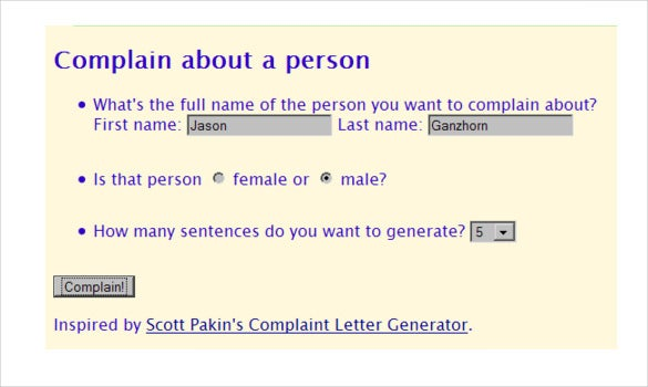 Complaint Letter Generator   6+ Free Sample, Example, Format