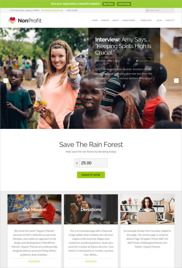 non profit organization wordpress theme