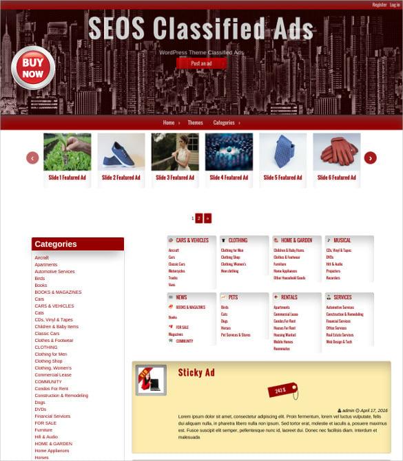 seo classified ads wordpress template