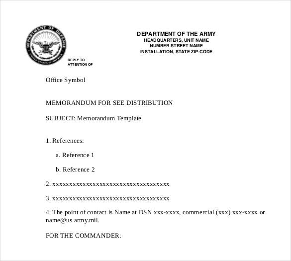 Army Professional Memo Reccords For Office Purpose Form Download  Download Memo Template