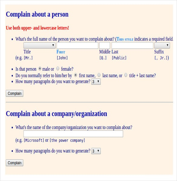 Complaint Letter Generator   Free Word Pdf Documents Download