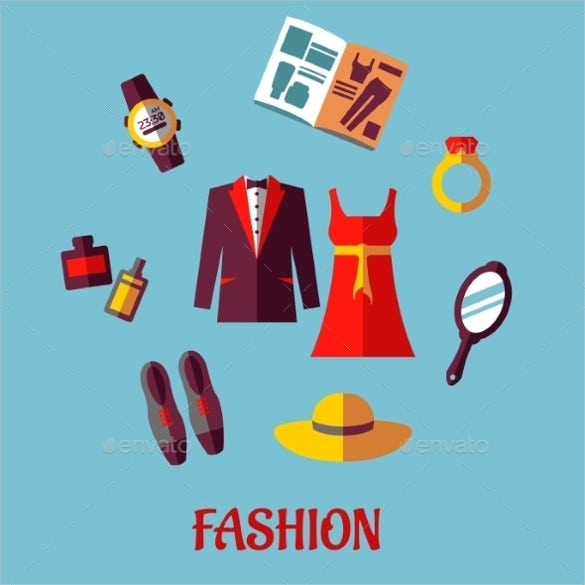 colorful flat fashion icons download