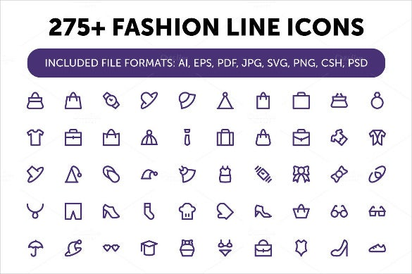 275 simple fashion icons set download