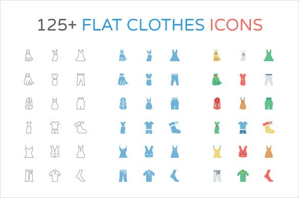 125 flat fashion clothes icons set download
