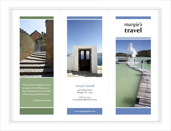 tri fold travel brochure blue