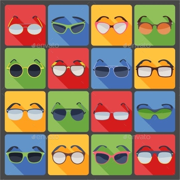 sunglasses fashion flat icons set download
