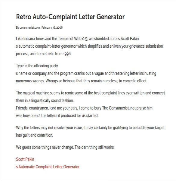 Complaint Letter Generator 6 Free Word PDF Documents