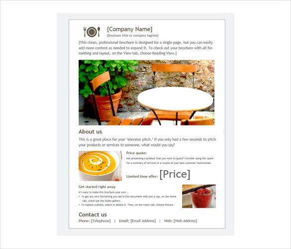 restaurant digital brochure download