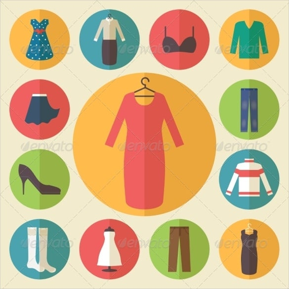 downloadable woman fashion clothing icons set