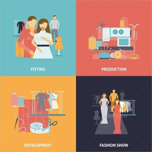 fashion clothes design icons set download