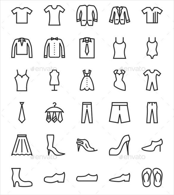 50 fashion line icons set download
