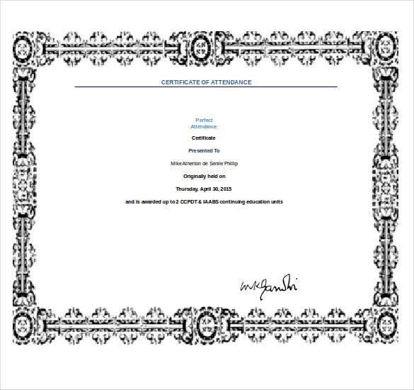 Perfect Perfect Attendance Award Template Word Format