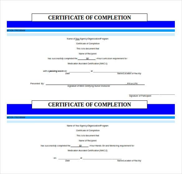 36 word certificate templates free premium templates for Certificate of completion word template free