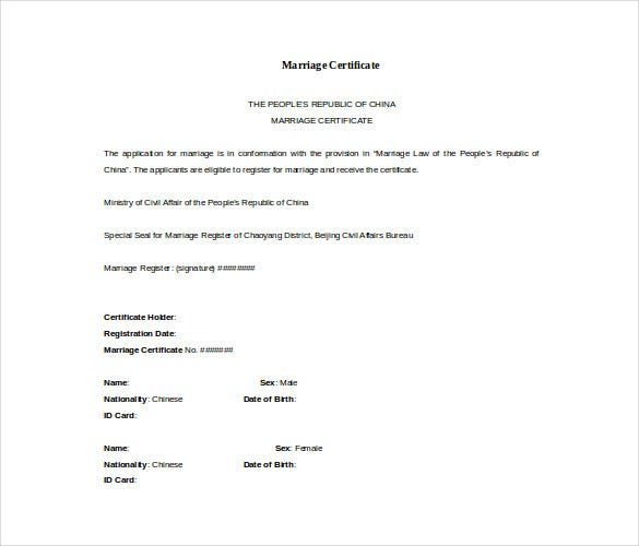 Doc Format Free Marriage Certificate Template  Certificate Word